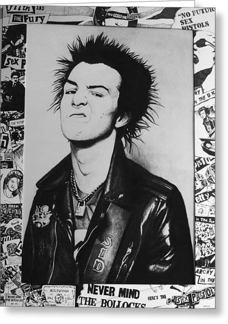 Pistol Drawings Greeting Cards - Sid Vicious Collage Greeting Card by Steve Hunter