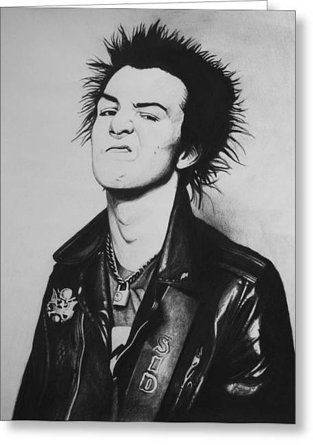 Pistol Drawings Greeting Cards - Sid Vicious Greeting Card by Steve Hunter