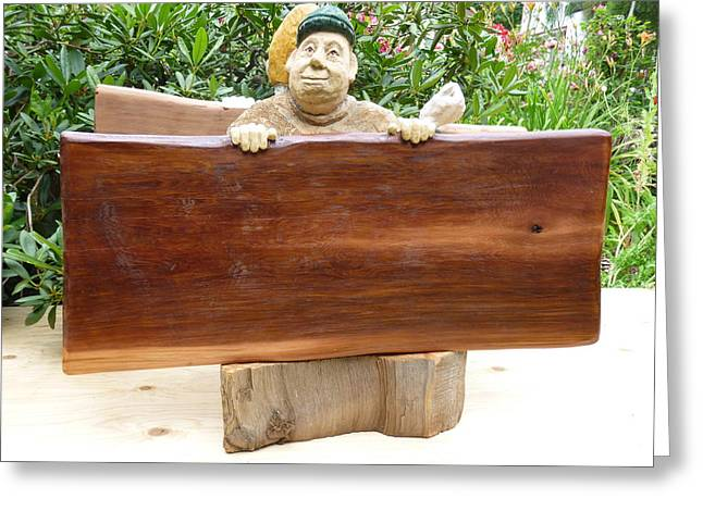 Cedar Sculptures Greeting Cards - Side A sandwichboard Greeting Card by Roger Friesen