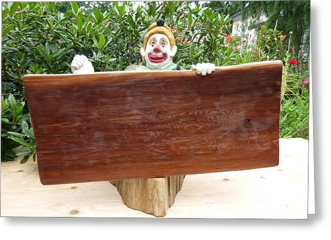 Cedar Sculptures Greeting Cards - Side b sandwich board Greeting Card by Roger Friesen