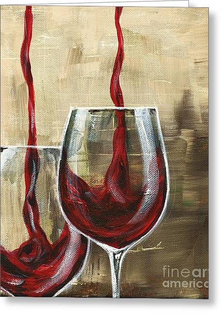 Wine Pouring Paintings Greeting Cards - Side by Side Greeting Card by Lisa Owen-Lynch