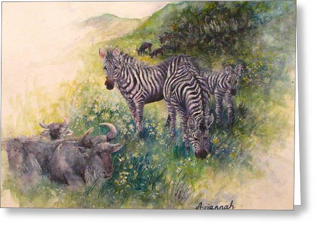 Social Herd Animals Greeting Cards - Side by Side Greeting Card by Ursula Brozovich
