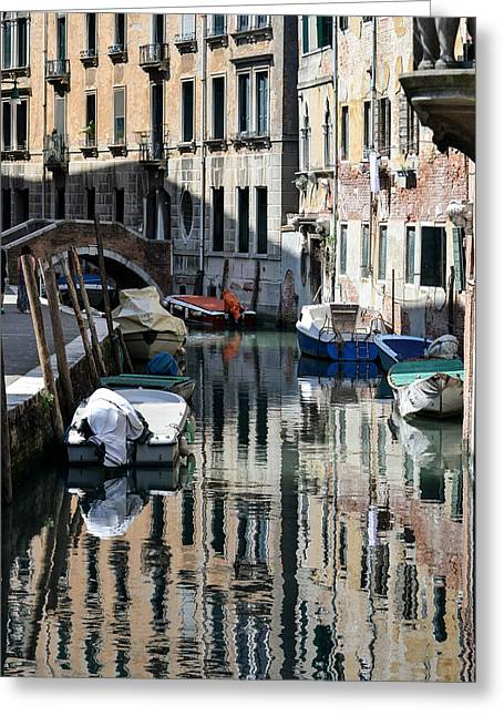Bill Mock Greeting Cards - Side Canal Venice Greeting Card by Bill Mock