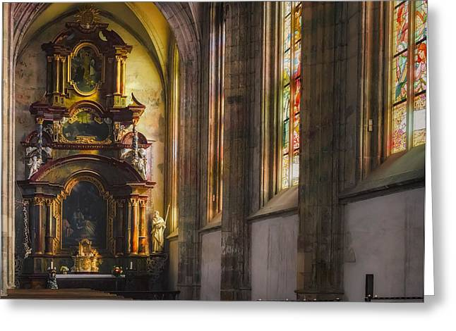 Medieval Temple Greeting Cards - Side Chapel of St Barbara Greeting Card by Joan Carroll
