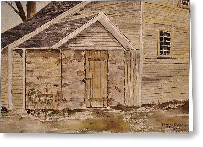 Clapboard House Paintings Greeting Cards - Side Door Out Back 14-31 Greeting Card by Peter Kundra