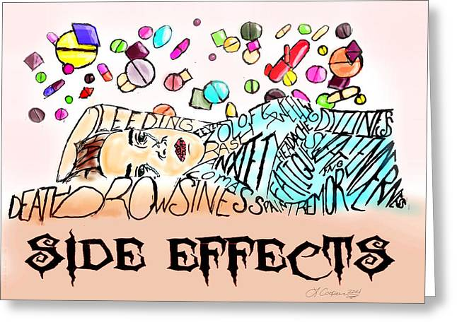 Bipolar Digital Art Greeting Cards - Side Effects Greeting Card by LaShanna  Cooper