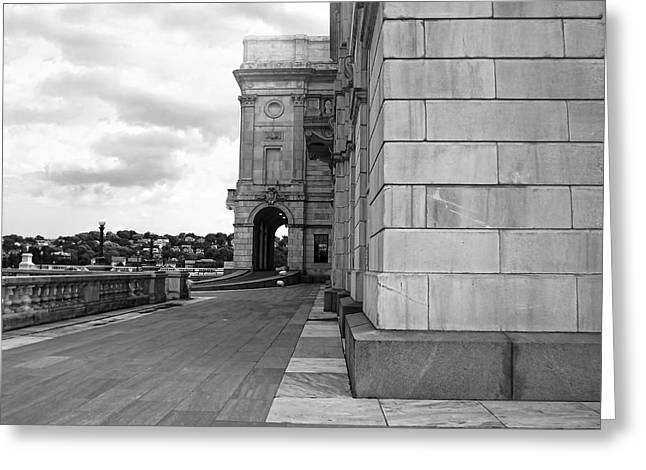 Historical Buildings Greeting Cards - Side Entrance BW Greeting Card by Lourry Legarde