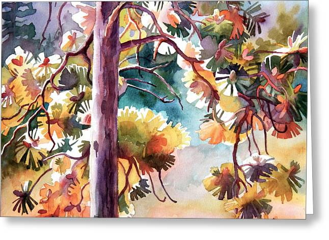 Pine Tree Drawings Greeting Cards - Side-light Pine Greeting Card by Dianne Bersea