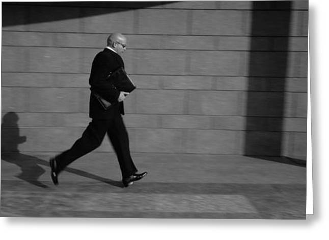 Mid-adult Greeting Cards - Side Profile Of A Businessman Running Greeting Card by Panoramic Images