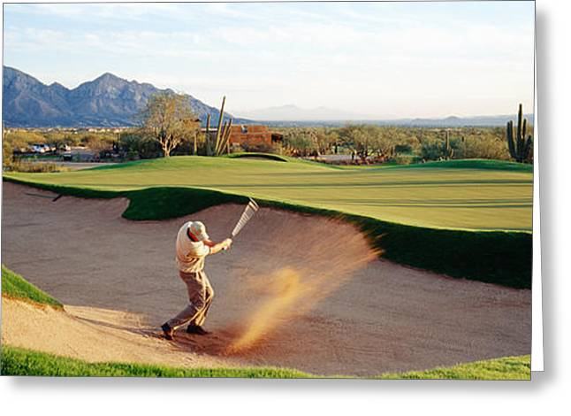 One Man Only Greeting Cards - Side Profile Of A Man Playing Golf Greeting Card by Panoramic Images