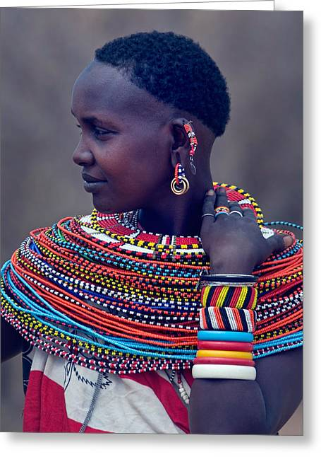 Side Profile Of A Samburu Tribal Woman Greeting Card by Panoramic Images