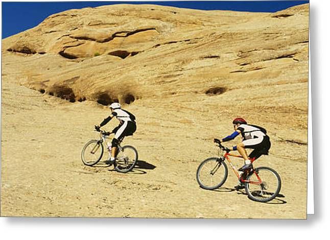 Extreme Sport Greeting Cards - Side Profile Of Two Men Mountain Greeting Card by Panoramic Images