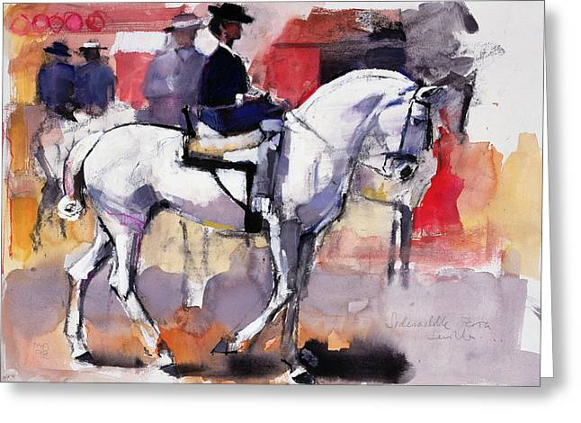 Horseback Photographs Greeting Cards - Side-saddle At The Feria De Sevilla, 1998 Mixed Media On Paper Greeting Card by Mark Adlington