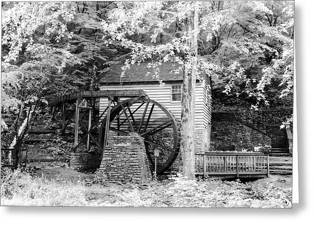 Tennessee Historic Site Photographs Greeting Cards - Side View of Rice Grist Mill Norris Dam State Park Tennessee - BW Greeting Card by Cynthia Woods