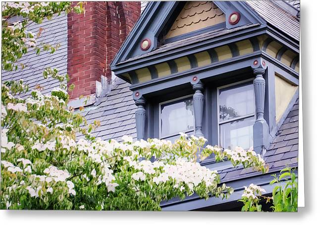 Side Window And Dogwoods Greeting Card by Joan Carroll