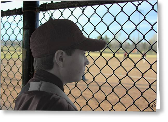 Baseball Uniform Greeting Cards - Sidelined Greeting Card by Chris Thomas