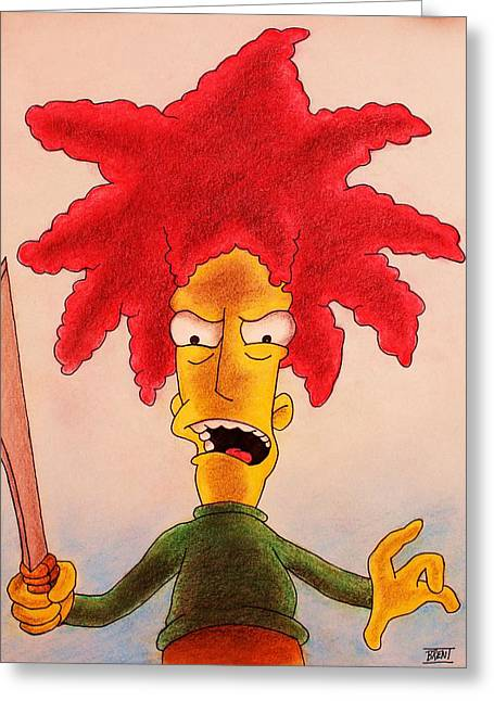 Awesome Pastels Greeting Cards - Sideshow Bob Greeting Card by Brent Andrew Doty