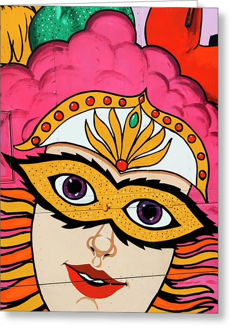 Celebration Art Print Greeting Cards - CARNIVAL MASK Palm Springs Greeting Card by William Dey