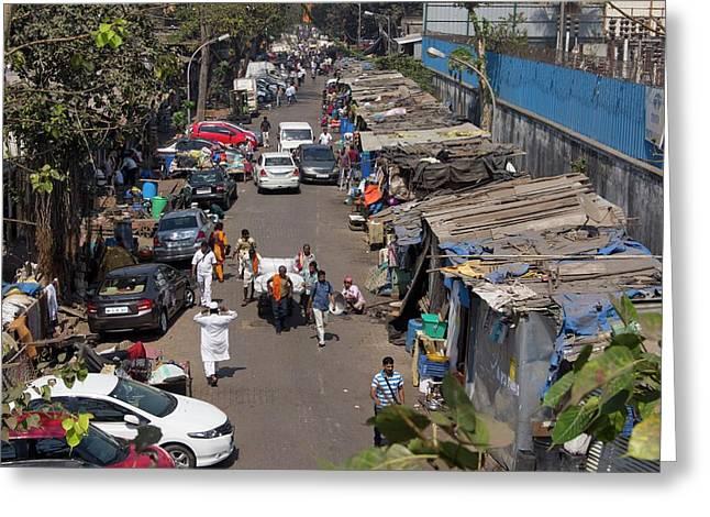 Sidestreet In Mumbai Greeting Card by Mark Williamson