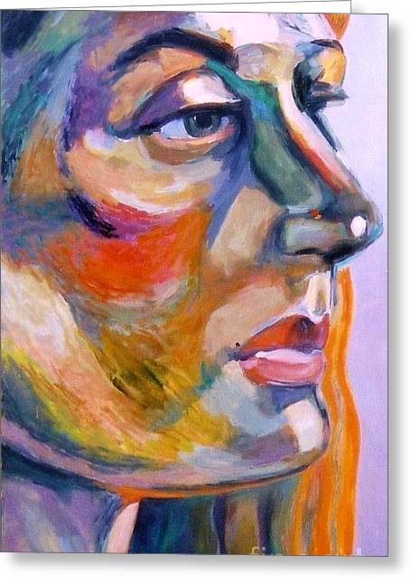 Gicl?es Greeting Cards - Sideview Of A Woman Greeting Card by Stan Esson