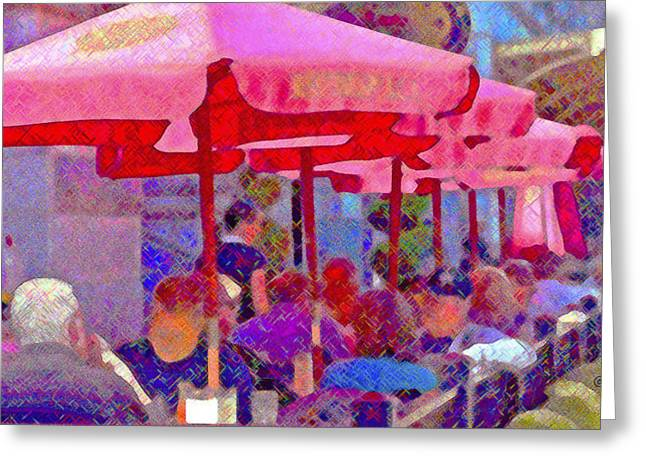 Greeting Card featuring the photograph Sidewalk Cafe Digital Painting by A Gurmankin