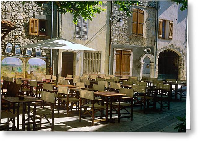 Spring Street Greeting Cards - Sidewalk Cafe In A Village, Claviers Greeting Card by Panoramic Images