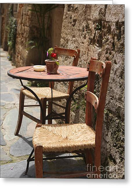 Vinegar Greeting Cards - Sidewalk cafe  Greeting Card by Patricia Hofmeester
