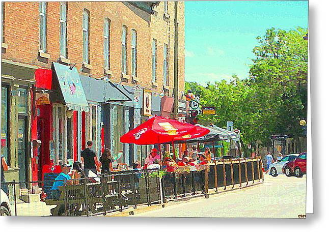 French Open Paintings Greeting Cards - Sidewalk Cafe Under Red Umbrellas Paris Style Open Air Cafe Terrace Resto Bar Pub Scene C Spandau   Greeting Card by Carole Spandau