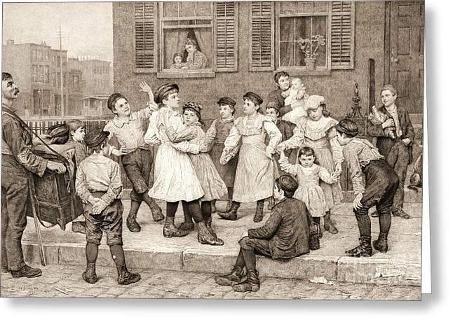 Hurdy-gurdy Greeting Cards - Sidewalk Dance 1894 Greeting Card by Padre Art