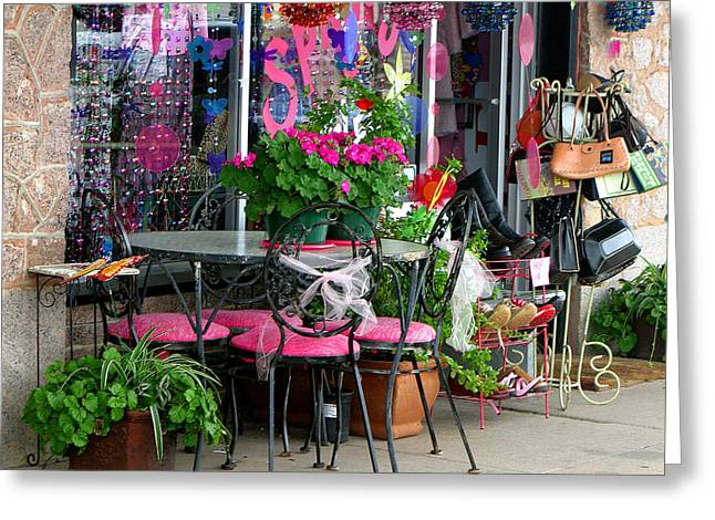 Store Fronts Greeting Cards - Sidewalk Display Marble Falls Texas Greeting Card by Linda Phelps