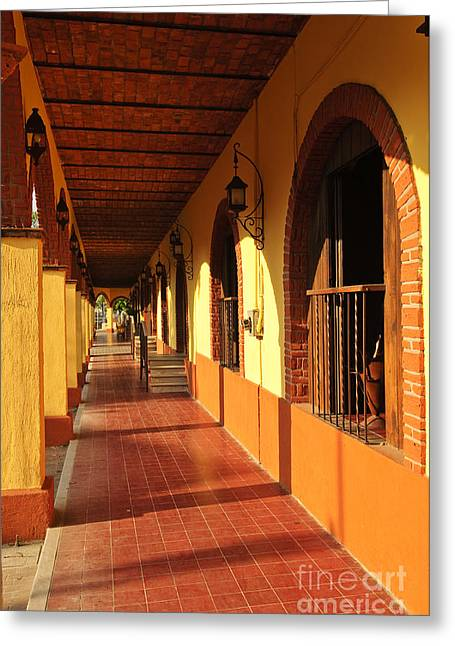 Sidewalks. Arches Greeting Cards - Sidewalk in Tlaquepaque district of Guadalajara Greeting Card by Elena Elisseeva