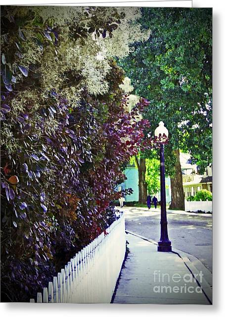 Nostalic Victorian Greeting Cards - Sidewalk Stroll II Greeting Card by Desiree Paquette