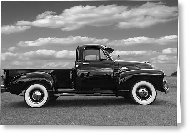 Chevy Pickup Greeting Cards - Sideways - Chevy Truck in Black and White Greeting Card by Gill Billington