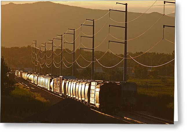 Rail Siding Greeting Cards - Siding at Sunset Greeting Card by Mike Flynn