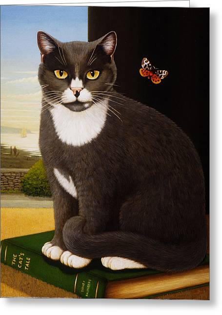 Black Cat Landscape Greeting Cards - Sidney, 1993 Oils And Tempera On Panel Greeting Card by Frances Broomfield