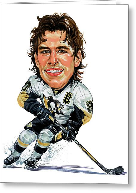 Hockey Paintings Greeting Cards - Sidney Crosby Greeting Card by Art