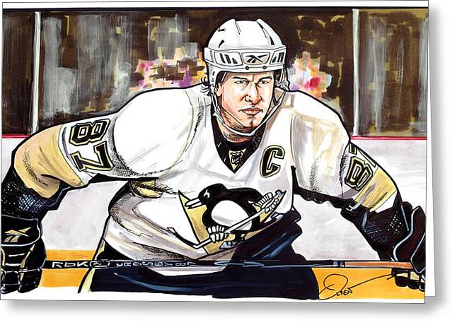 Pittsburgh Drawings Greeting Cards - Sidney Crosby Greeting Card by Dave Olsen