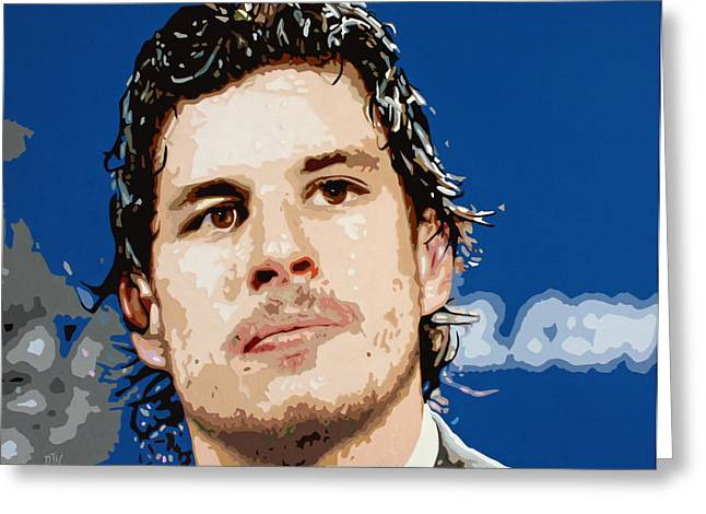 Hockey Paintings Greeting Cards - Sidney Crosby Greeting Card by Dennis Nadeau