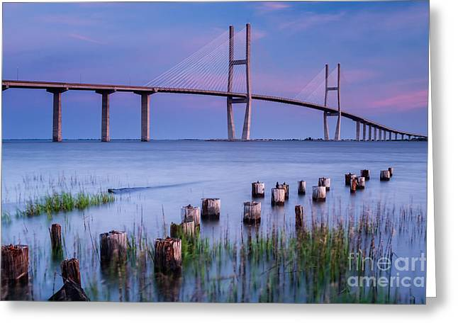 Island Stays Greeting Cards - Sidney Lanier Bridge Brunswick Georgia Greeting Card by Dawna  Moore Photography