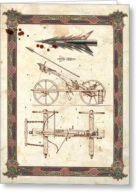 Technical Greeting Cards - Siege Crossbow Greeting Card by Garry Walton