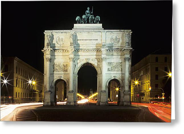 Long Street Greeting Cards - Siegestor At Ludwigstrasse, Schwabing Greeting Card by Panoramic Images