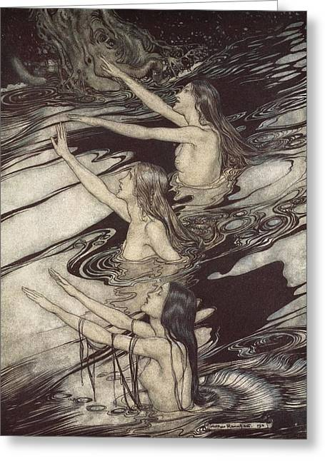 Legend Drawings Greeting Cards - Siegfried Siegfried Our warning is true flee oh flee from the curse Greeting Card by Arthur Rackham