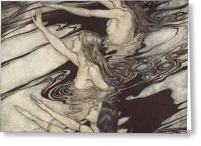 Siegfried Siegfried Our warning is true flee oh flee from the curse Greeting Card by Arthur Rackham