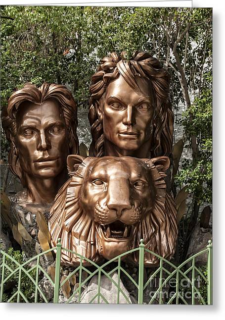 The Tiger Greeting Cards - Siegried and Roy Statue in Las Vegas Greeting Card by Philip Pound