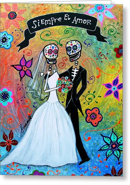 Wedding Couple Day Of The Dead Dia De Los Muertos Anniversary Gift Te Amo Prisarts Pristine Cartera Turkus Bride Flowers Blooms Love Mexican Art Folk Town For Sale Original Greeting Cards - Siempre El Amor Greeting Card by Pristine Cartera Turkus