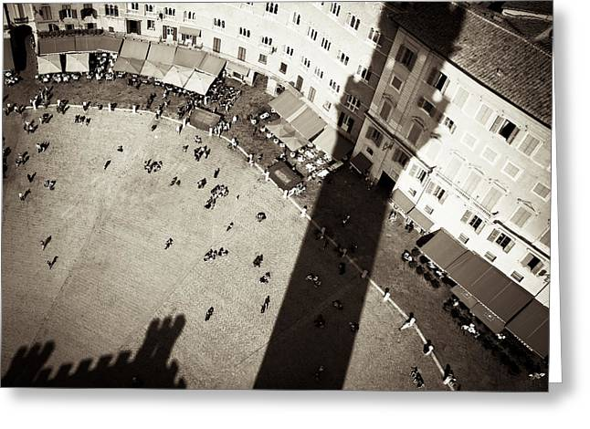Monochrome Greeting Cards - Siena from Above Greeting Card by Dave Bowman