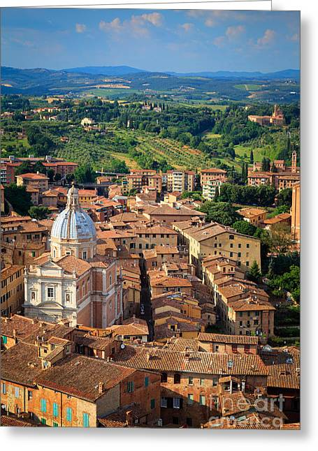 Duomo Greeting Cards - Siena From Above Greeting Card by Inge Johnsson