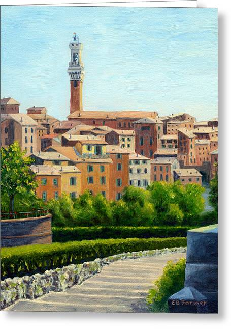 Staris Greeting Cards - Siena Italy Greeting Card by Elaine Farmer