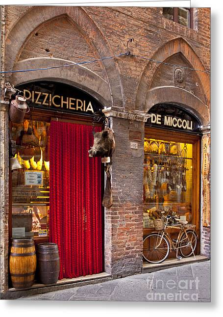 Italian Market Greeting Cards - Siena Meat and Cheese Shop Greeting Card by Brian Jannsen