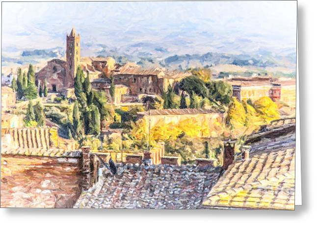 Tuscany Greeting Cards - Siena overview Tuscany Italy Greeting Card by Liz Leyden